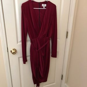 Long sleeve red velvet dress